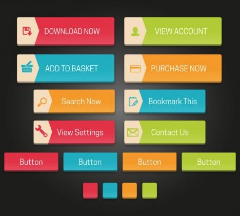 website user interface buttons design elements