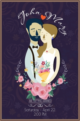 wedding banner couple flowers icons calligraphic decor
