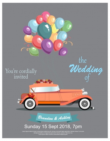 wedding banner design with vintage car and balloons