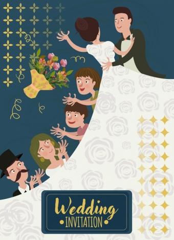 wedding banner groom bride guests icons cartoon design