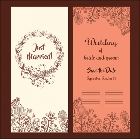 wedding card design classical style with flowers