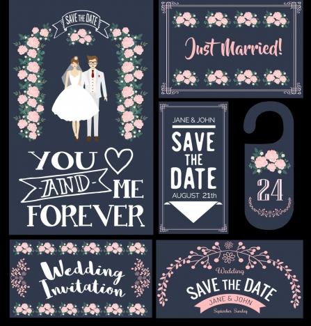 wedding card design elements classical flowers couple decor