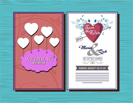 wedding card design hearts and arrow decoration style