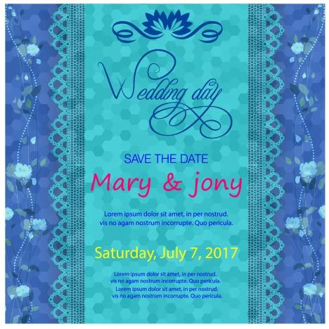 wedding card design on blurred blue background