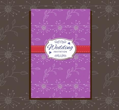 Wedding card design violet classical flowers pattern vectors stock wedding card design violet classical flowers pattern stopboris Images