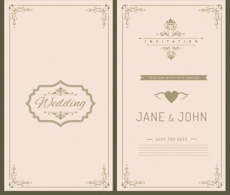 wedding card template black white retro ornament