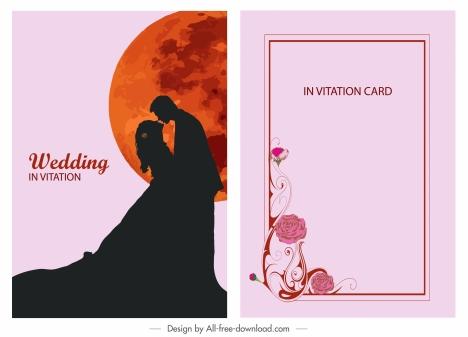 wedding card template couple silhouette moon decor