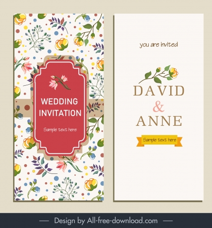 Wedding Card Template Elegant Bright Colorful Botanical