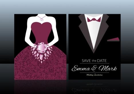 wedding card template groom bride costume elegant design