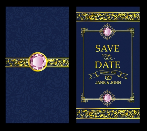 wedding card template luxury gems decor blue background