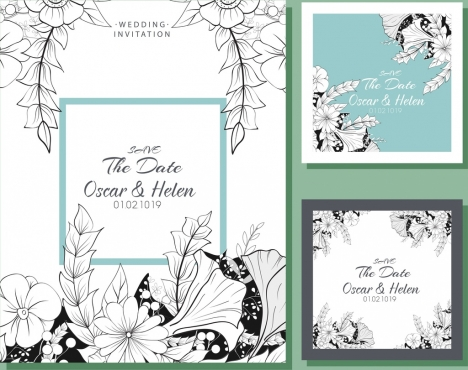 wedding card templates classical design floral sketch