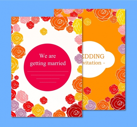 wedding card templates colorful rose background ornament