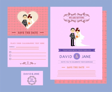wedding card templates couple design on colored background