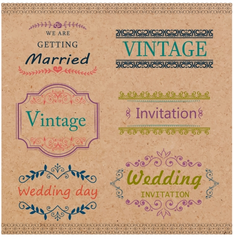 wedding card templates design with vintage style