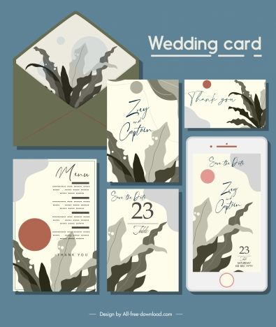 wedding card templates elegant classical leaf decor