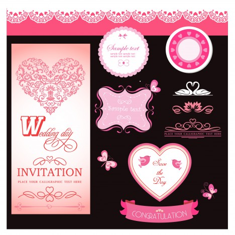 wedding day invitation set
