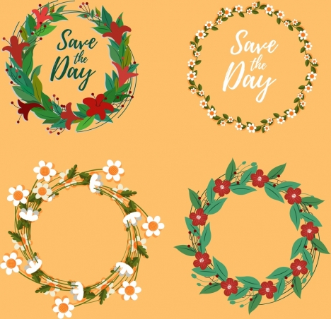 wedding design elements classical floral wreath icons