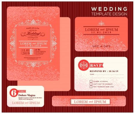 wedding invitation card design with orange bokeh background