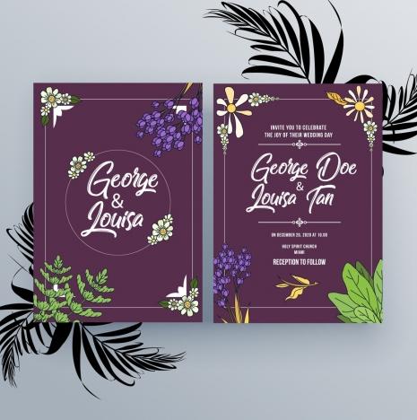Wedding Invitation Card Template Violet Design Natural
