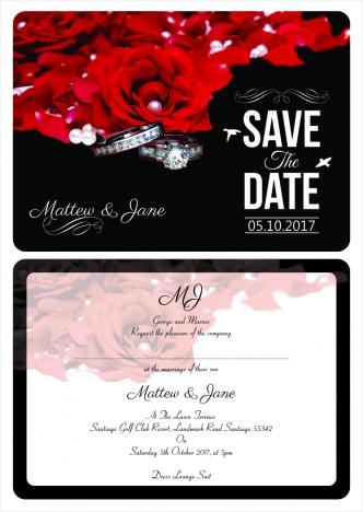 Wedding Invitation Single Card Front And Back Print Vectors