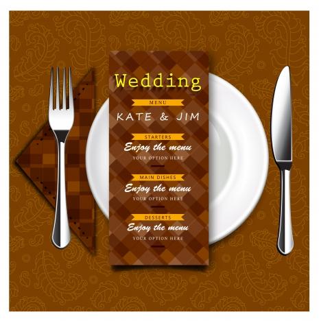 wedding menu vector design with retro style