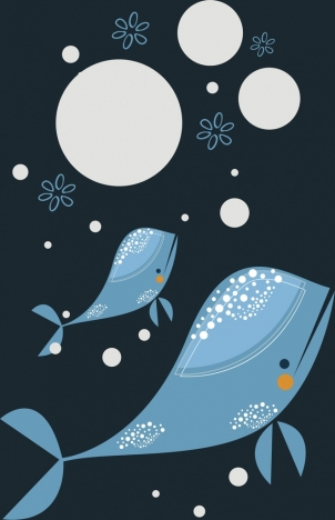 whales decor background colored cartoon style