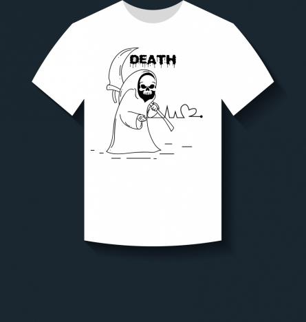 white tshirt design death icon ornament handdrawn style