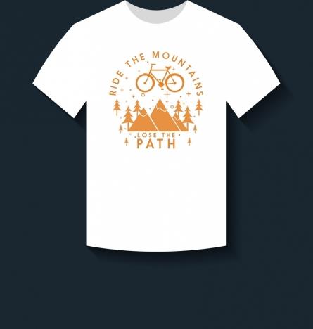 white tshirt design mountain bike icons decoration