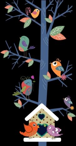 wild birds background colored cartoon design