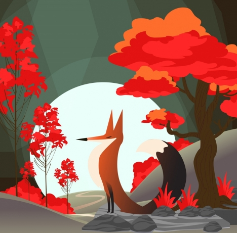 wild life drawing fox red tree moonlight icons