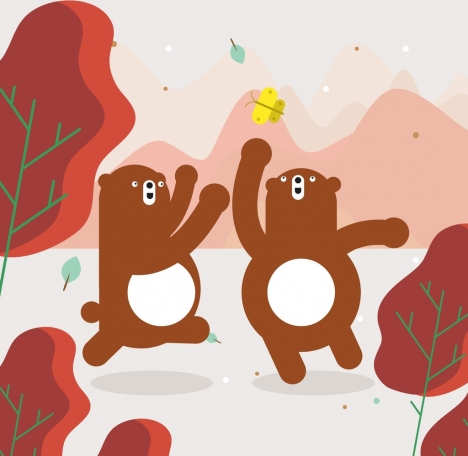 wild life drawing joyful bears icons cartoon design