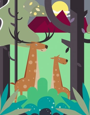 wild life drawing reindeer forest icons cartoon design