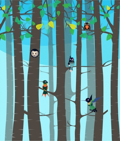 wild nature background birds forest icons decoration