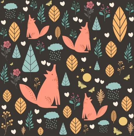 wild nature background fox leaf icons repeating design