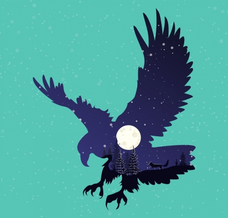 wild nature background silhouette eagle moonlight trees icons decor