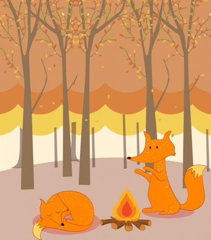 wild nature background stylized fox icons cartoon decoration