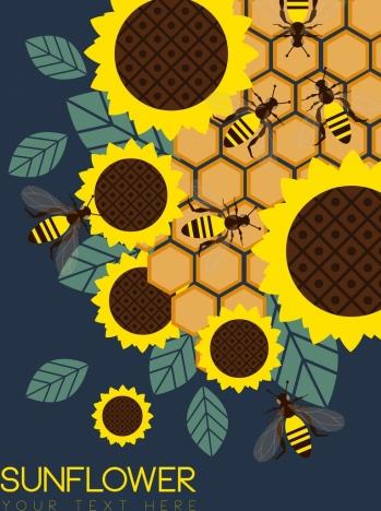 wild nature background sunflower honeybee comb icons decor