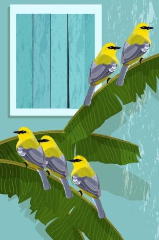 wild wild drawing banana leaves bird icons decor