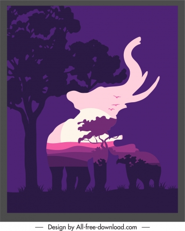 wilderness background elephant blurred silhouette dark scenery decor