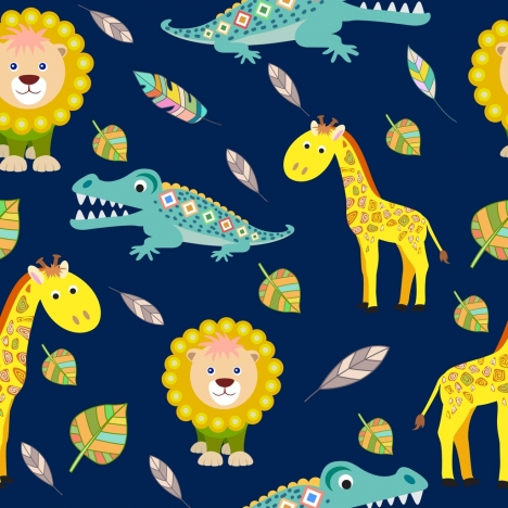 wildlife background crocodile giraffe lion icons repeating design