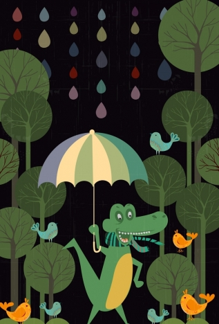 wildlife background stylized crocodile icon colored cartoon design