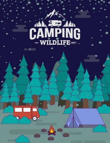 wildlife camping banner forest tent bus campfire icons
