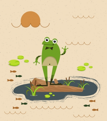 wildlife drawing green frog icons stylized cartoon design