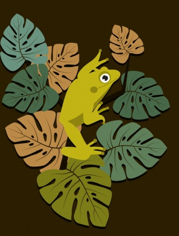 wildlife drawing green frog leaves icons classical design