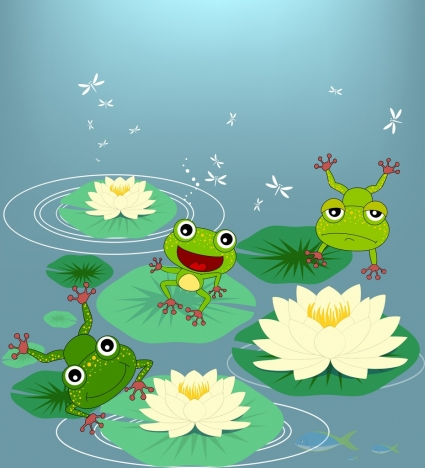 wildlife drawing green frog lotus icons colored cartoon