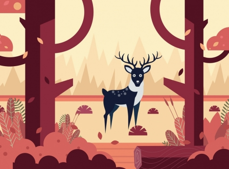 wildlife drawing reindeer jungle icon colored cartoon design
