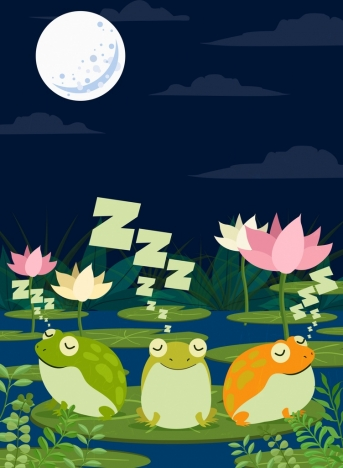 wildlife drawing sleeping frogs moonlight lotus icons decor