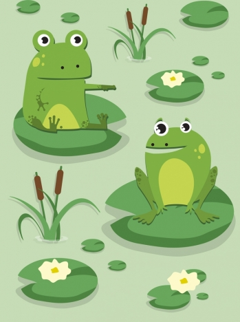 wildlife painting green frog lotus leaves cartoon design