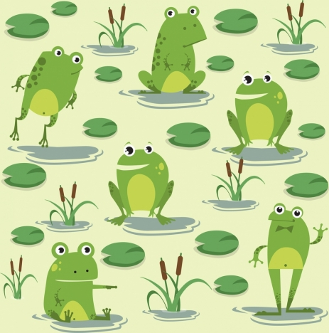wildlife painting green frogs icons cute cartoon design