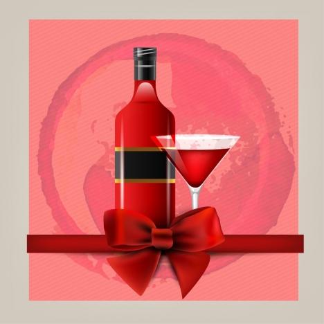 wine advertising red vignette background bottle glass ornament